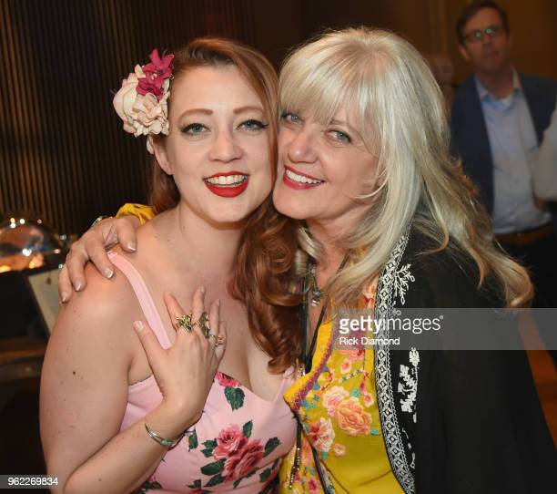 Artists Jolie Goodnight and Kimmie Rhodes attend the CMHOF Outlaws and Armadillos VIP Opening Reception on May 24 2018 in Nashville Tennessee