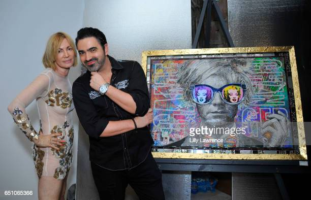 Artists Karen Bystedt and Brayden Bugazzi attend Karen Bystedt's 'Kings And Queens' exhibition on March 9 2017 in Los Angeles California