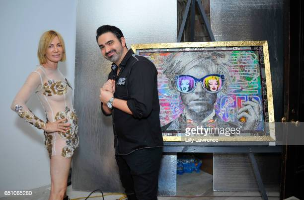 Artists Karen Bystedt and Brayden Buqazzi attend Karen Bystedt's 'Kings And Queens' exhibition on March 9 2017 in Los Angeles California