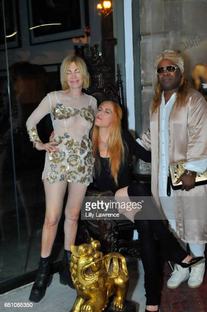 Artists Karen Bystedt Ashley Cummings and celebrity stylist Sir Joe Exclusive attend Karen Bystedt's 'Kings And Queens' exhibition on March 9 2017 in...