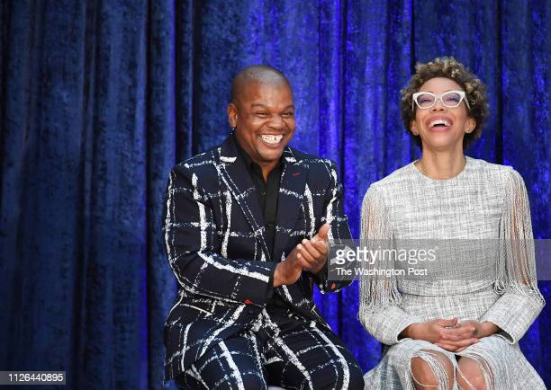 Artists Kehinde Wiley and Amy Sherald are seen during an event as former President Barack Obama and former First Lady Michelle Obama have their...