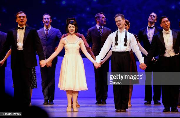 Artists Leanne Cope as Lise Dassin and Ryan Steele as Jerry Mulligan acknowledge the applause of the audience at the end of the musical comedy 'An...