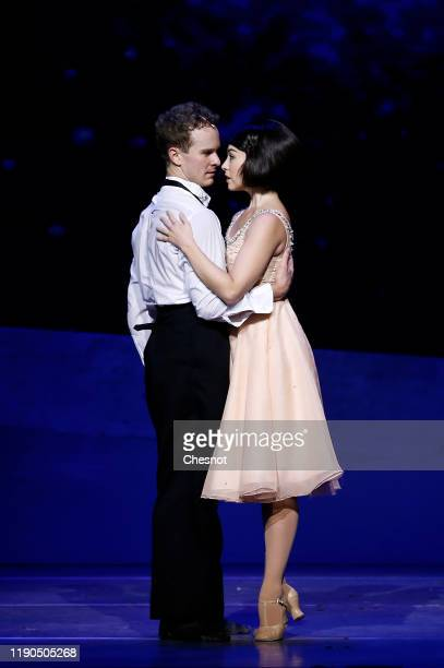Artists Leanne Cope as Lise Dassin and Ryan Steele as Jerry Mulligan perform during the musical comedy 'An American in Paris' at 'Theatre du...
