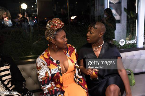 Artists Mahogany Browne and Theresa Chromati attend Spotify Honors Black Female Creatives For Black History Is Happening Now Campaign on October 22...