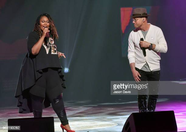 Artists Mandisa and TobyMac perform onstage during the 6th Annual KLOVE Fan Awards at The Grand Ole Opry on May 27 2018 in Nashville Tennessee