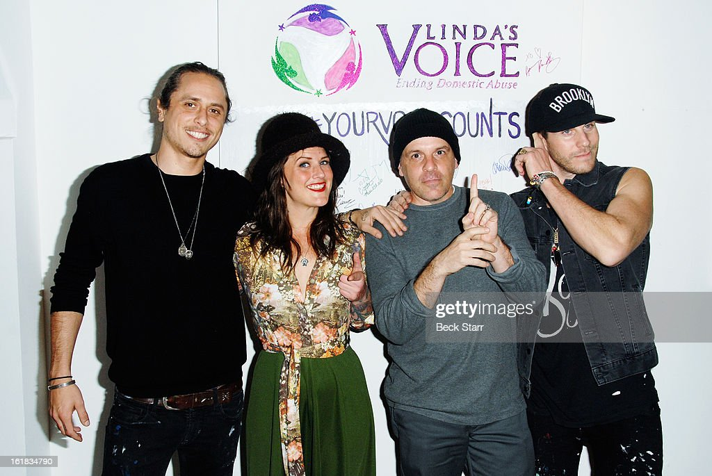 Artists Mar, Annie Preece, Louis Cannizzaro and Gregory Siff arrives at Linda's Voice live art auction at LAB ART Gallery on February 16, 2013 in Los Angeles, California.