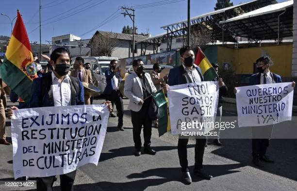 Artists march in La Paz on June 15, 2020 to demand Bolivian President Jeanine Anez to reinstate the Culture Ministry after earlier this month, in a...