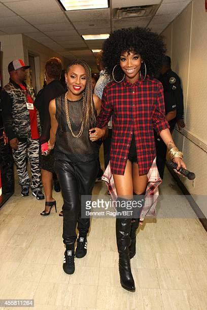 Artists MC Lyte and Brandy pose backstage at the BET Hip Hop Awards 2014 at Boisfeuillet Jones Atlanta Civic Center on September 20 2014 in Atlanta...
