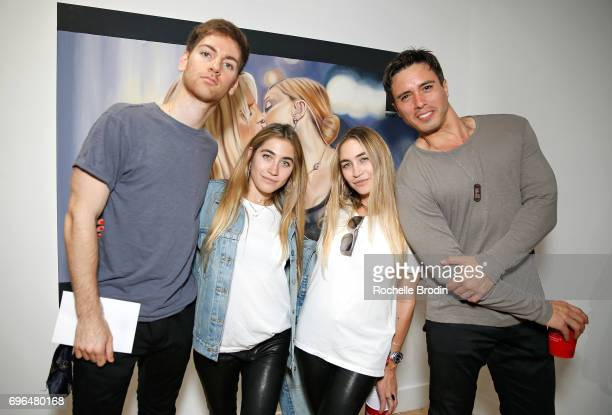 Artists Michael De Angelo Allie Kaplan and Lexi Kaplan and entertainment agent Nick Cordasco attend the Make Me Famous exhibit hosted by The Kaplan...