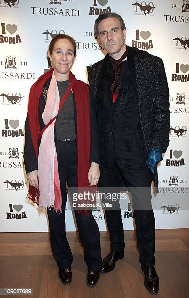 Artists Mirta d'Argenzio and Paolo Canevari attend I Love Roma Trussardi 1911 Flagship Store Opening Cocktail Party on February 14 2011 in Rome Italy