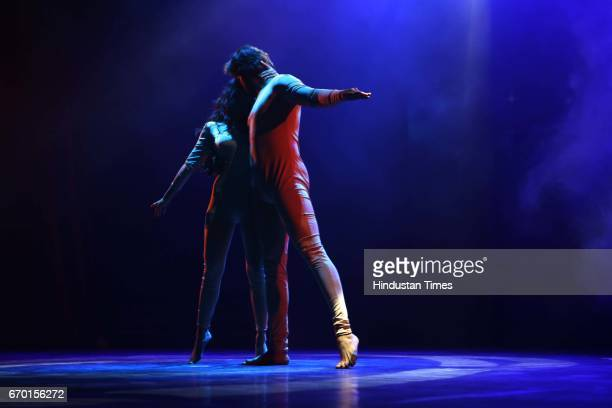 Artists Nanda Kumar and Charvi Bhardwaj perform during an evening of light sound dance choreography organized by Chaman Lal Memorial Society at...
