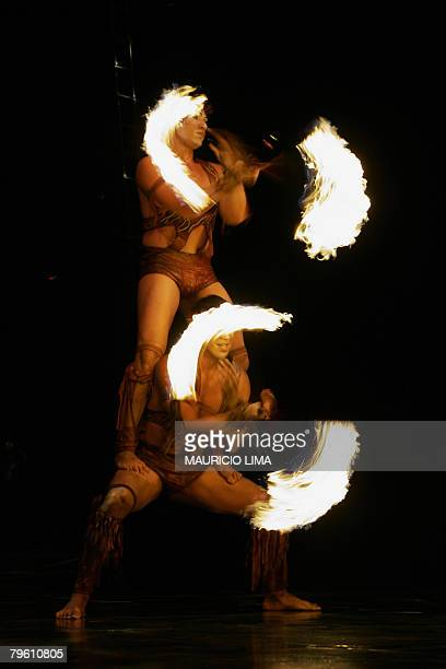 Artists of 'Cirque du Soleil' perform during a dress rehearsal for the 'Alegria' show in Sao Paulo Brazil 06 February 2008 The international cast of...