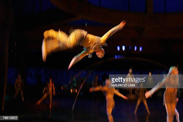 Artists of 'Cirque du Soleil' perform during a dress rehearsal of 'Alegria' show in Sao Paulo Brazil 06 February 2008 The international cast of 55...