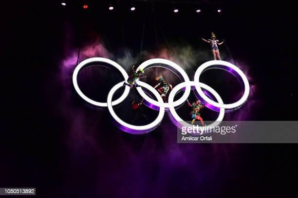 Artists of Fuerza Bruta perform on the Olympic Rigns during the opening ceremony of the Buenos Aires 2018 Youth Olympic Games at Obelisco monument on...