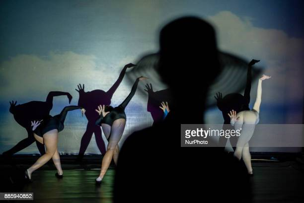 Artists of Teulis Shadow Theater during the performance in Kiev Ukraine on December 3 2017 Artists of the theater create performances using the...