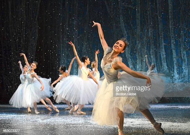 Artists of the Boston Ballet perform as snowflakes during a dress rehearsal of Boston Ballet's The Nutcracker at the Boston Opera House Nov 29 2013