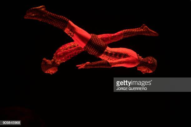 Artists of the Canadian entertainment company Cirque du Soleil perform during a press preview of the show TOTEM in Sevilla on January 24 2018 RELEASE