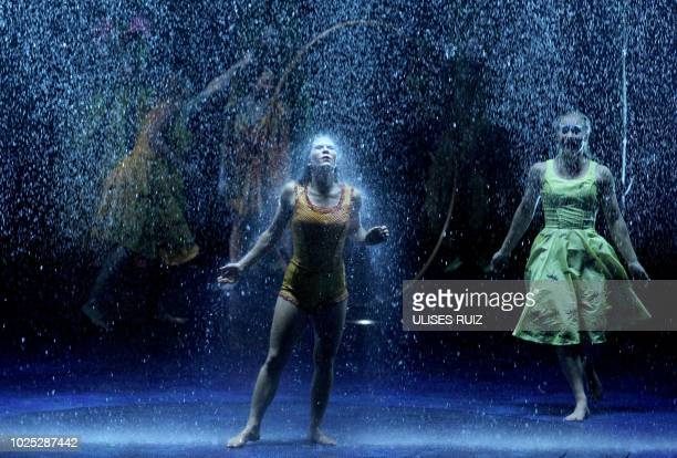 TOPSHOT Artists of the Canadian entertainment company Cirque du Soleil perform as part of the LUZIA show during the premier in Guadalajara City...