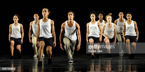 Artists of the company in Danza Contemporanea de Cuba's production of George Cespedes's Mambo 3XXI at Sadlers Wells in London