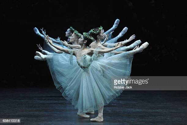 Artists of the company in English National Ballet's production of Mary Skeaping's [after Petipa]Giselle at the London Coliseum on January 10 2017 in...