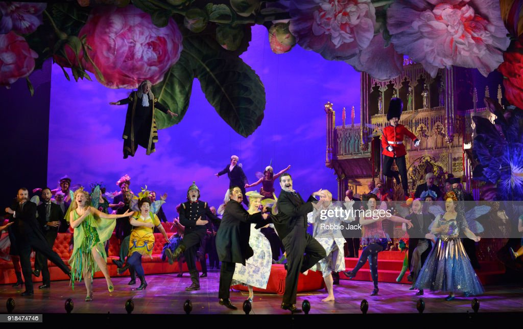 Artists of the company in English National Opera's production of Gilbert and Sullivan's Iolanthe at The London Coliseum on February 12, 2018 in London, England.