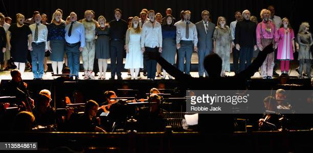 Artists of the company in English National Opera's production of Wolfgang Amadeus Mozart's The Magic Flute directed by Simon McBurney and conducted...