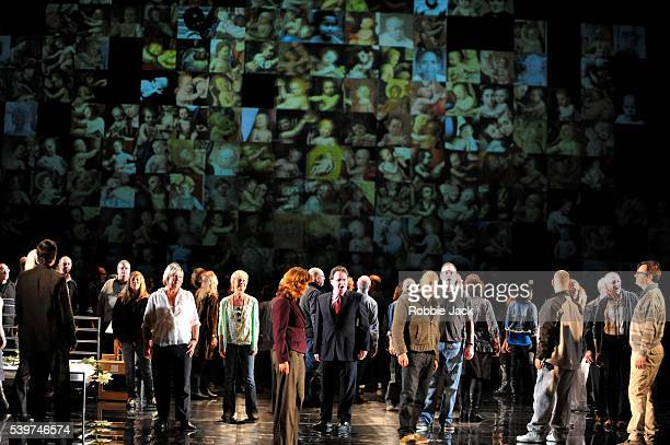"""Artists of the company in English National Opera's production of George Frideric Handel's """"Messiah"""" directed by Deborah Warner at the London Coliseum."""