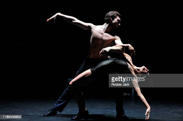 Artists of the company in Le Ballet De L'Opera National Du Rhin's Production Of Helene Blackburn's Les Beaux Dormants at The Linbury Theatre on...