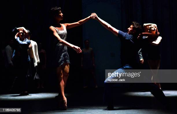 Artists of the company in Le Ballet De L'Opera National Du Rhin's Production Of Helene Blackburn's Les Beaux Dormants at The Linbury Theatre on...