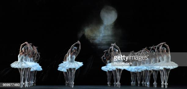 Artists of the company in Liam Scarlett's adaptation of Marius Petipa and Lev Ivanov's Swan Lake at the Royal Opera House on May 17 2018 in London...