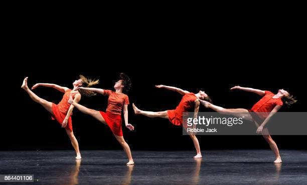 Artists of the company in Lyon Ballet's production of Maguy Marin's Trois Grandes Fugues at Sadler's Wells Theatre on October 19 2017 in London...