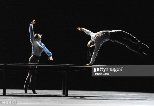 Artists of the company in Nederlands Dans Theatre 1's production of Crystal Pite's The Statement at Sadler's Wells Theatre on June 26 2018 in London...