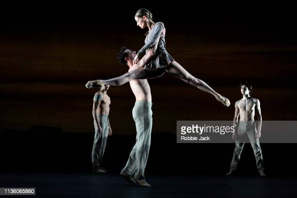 Artists of the company in Nils Christe'u2019s Cantus part of the Dutch Masters programme presented by Introdans at The Linbury Theatre Royal Opera...