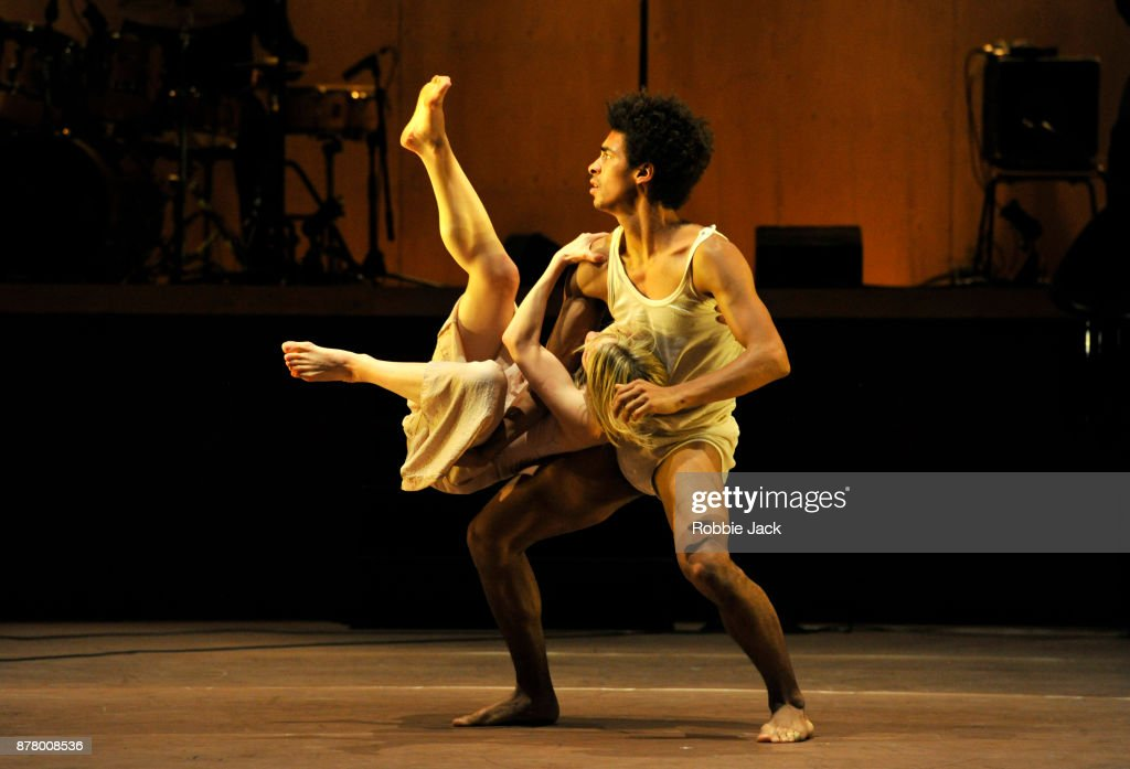 Artists of the company in Rambert's production of Ben Duke's Goat at Sadler's Wells Theatre on November 21, 2017 in London, England.