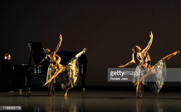 Artists of the company in Richard Alston's Brahms Hungarian at Sadlers Wells Theatre on February 27, 2019 in London, England.