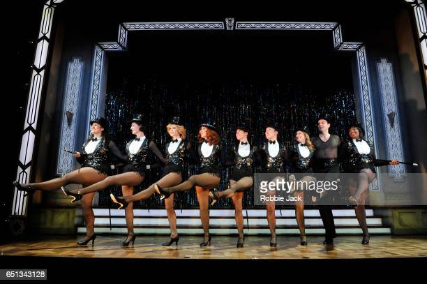 Artists of the company in Richard Harris's Stepping Out directed by Maria Friedman at the Vaudville Theatre on March 9 2017 in London United Kingdom