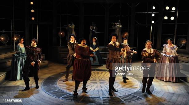 Artists of the company in Shakespeare Globe's production Emilia directed by Nicole Charles at The Vaudville Theatre on March 18 2019 in London England