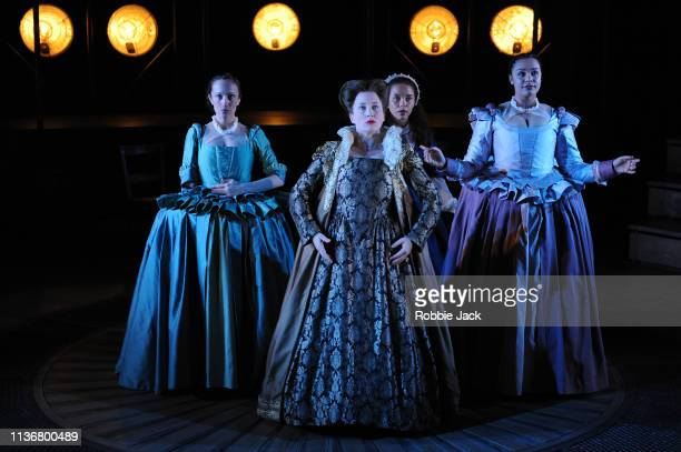 Artists of the company in Shakespeare Globe'u2019s production Emilia directed by Nicole Charles at The Vaudville Theatre on March 18 2019 in London...