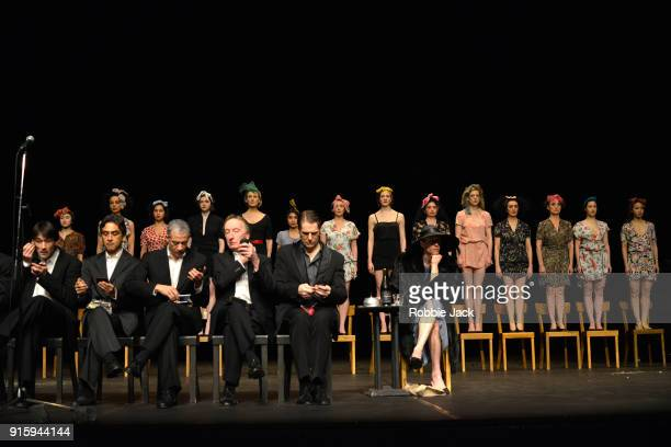 Artists of the company in Tanztheater Wuppertal Pina Bausch's production Viktor at Sadler's Wells Theatre on February 7 2018 in London England