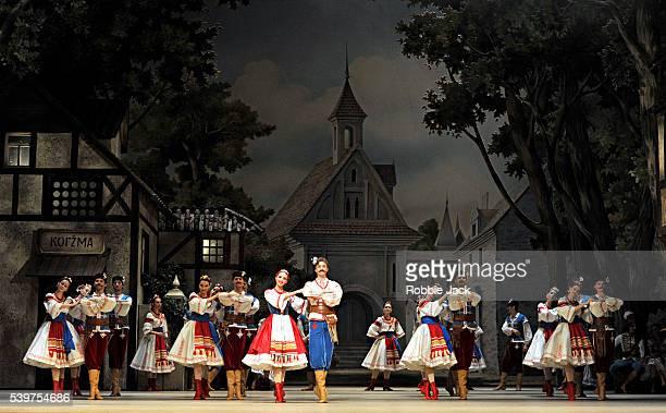"Artists of the company in the Bolshoi Ballet's production of Enrico Cecchetti, Marius Petipa, George Balanchine and Alexandra Danilova's ""Coppelia""..."