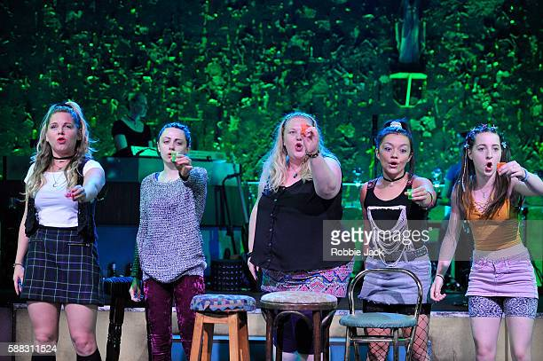 Artists of the company in The National Theatre of Scotland's production Our Ladies Of Perpetual Succour at The National Theatre on August 9 2016 in...