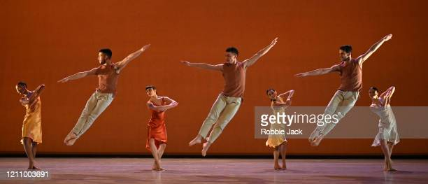 Artists of the company in The Richard Alston Dance Company's production of Richard Alston's Voices And Light Footsteps at Sadler's Wells Theatre on...
