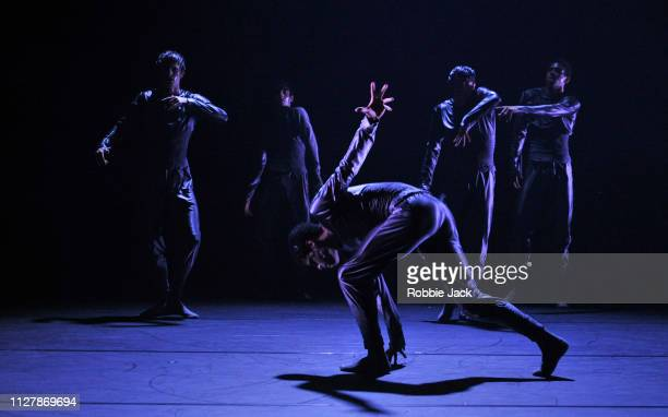 Artists of the company in The Royal Ballet's production of Alexander Whitley's Uncanny Valley at The Royal Opera House on February 6 2019 in London...