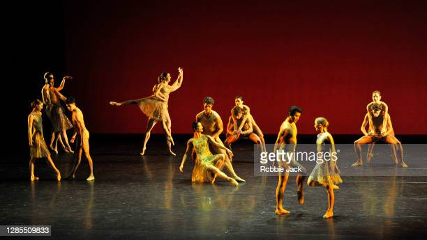 Artists of the company in The Royal Ballet's production of Christopher Wheeldon's Within the Golden Hour at The Royal Opera House on November 12,...