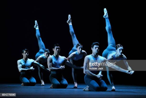Artists of the company in the Royal Ballet's production of Christopher Wheeldon's After The Rain at the Royal Opera House on March 14, 2017 in...