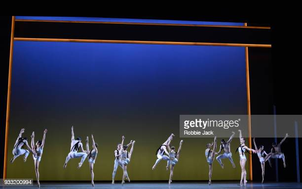 Artists of the company in the Royal Ballet's production of Christopher Wheeldon's Corybantic Games at the Royal Opera House on March 15 2018 in...