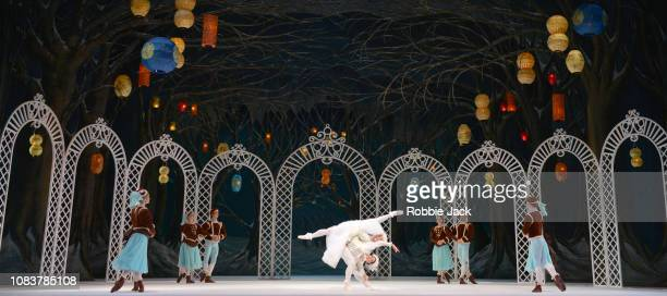 Artists of the company in The Royal Ballet's production of Frederick Ashton's Les Patineurs at The Royal Opera House on December 17 2018 in London...