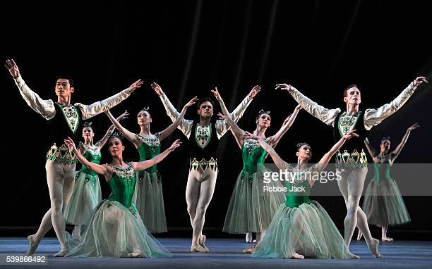Artists of the company in the Royal Ballet's production of George Balanchine's Jewels at the Royal Opera House Covent Garden in London