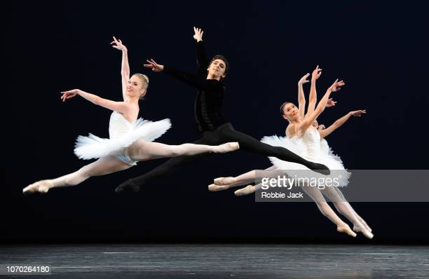 Artists of the company in The Royal Ballet's production of George Balanchine's Symphony in C at The Royal Opera House on November 19 2018 in London...