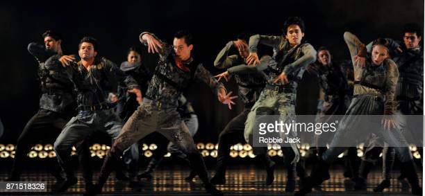 Artists of the company in the Royal Ballet's production of Hofesh Shechter's Untouchable at The Royal Opera House on November 3 2017 in London England
